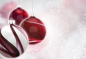Обои новый год, игрушки, елочные, снежинки, шары, рождество