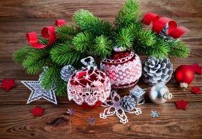 шары, рождество, ветки, елка, украшения, новый, год