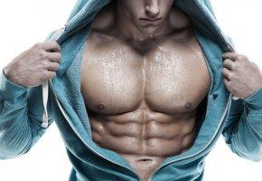 мужчина, тело, мышцы, пресс, капли