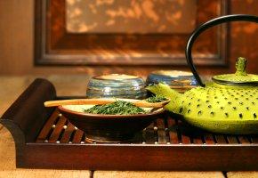 заварка, чайник, поднос, Чай, ложка, пиалы