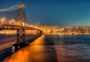 Обои Сша, мост, бэй-бридж, калифорния, город, сан-франциско, огни