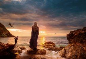 Обои game of thrones, Daenerys Targaryen, игра престолов, девушка, драконы, полет, камни, закат