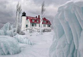 небо, облака, зима, лед, снег, маяк, дом