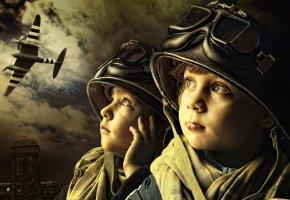 дети, мальчики, самолёт, шлем, очки