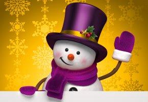 праздник, зима, снеговик, снежинки, жёлтый, шляпа, цилиндр, рождество
