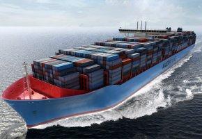 судно, контейнеры, Maersk, корпус, груз, борт
