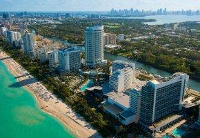 панорама, miami, Майами, florida, пляж, высота, флорида