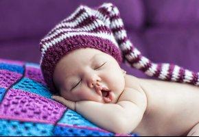 ребенок, малыш, сон, губки, ручки, шапка