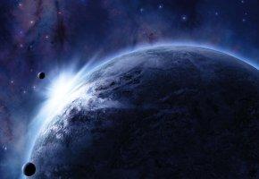 планета, космос, свет, спутник, звезды