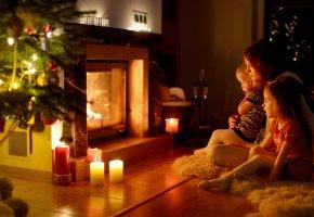 дети, женщина, тепло, камин, рождество, семья, уют, новый год