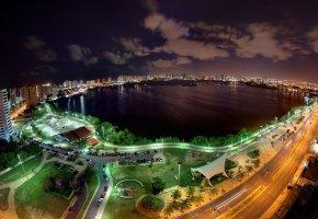 огни, городские, Brazil, дороги, ночь, Бразилия