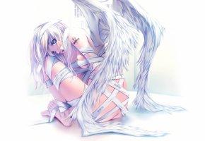 татуировка, бандаж, белый фон, крылья, девушка, ангел