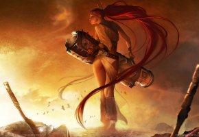 Heavenly Sword, девушка, воин, пушка, попка, волосы