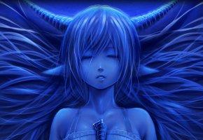 Обои девушка, лицо, рога, уши, спит, синий
