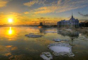Санкт-Петербург, крейсер, Аврора, зима, солнце, лед