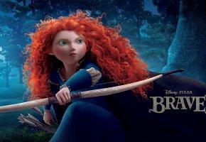 Обои Храбрая сердцем, Brave, Disney, Pixar, лук, стрелы