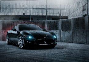 Maserati, GranTurismo, black, мазерати, гран туризмо, чёрный