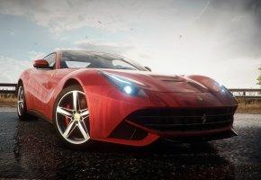 Need for Speed Rivals, Ferrari F12 Berlinetta, суперкар, ракурс, дарога, отрожение