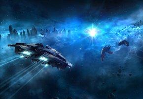 звездолеты, космический корабль, туманность, звезды, осколки
