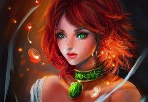Обои девушка, рыжая, кулон, искорки, пузырьки, разные глаза