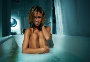 Кейтлин Вонг, актриса, ванна, ножки, волосы, вода