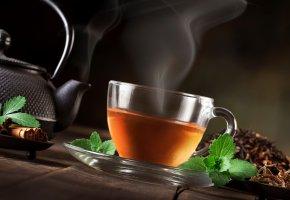 чай, мята, листочки, чайник, чашка, пар, корица, заварка