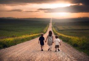 дети, девочка, мальчики, дорога, простор, путь