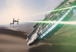 Обои Star Wars: The Force Awakens, Star Wars Episode VII, Episode VII, millenium falcon, TIE Fighter