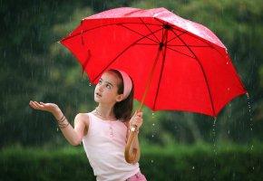 девочка, зонт, красный, дождь, рука