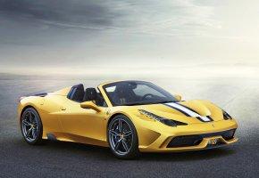 Ferrari, 458 Speciale A, феррари, желтый, кабриолет, скорость