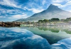 гора, отражение, берег, камни, вода, деревья