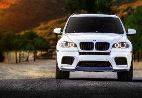 BMW, X5M, white, БМВ, белый, дорога, передок, фары