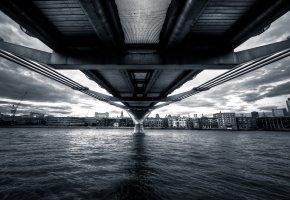 мост, thames, river, река, england, Лондон, Millennium bridge, Англия, london