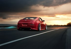 скорость, road, rear, red, 350z, nissan, ниссан, красный