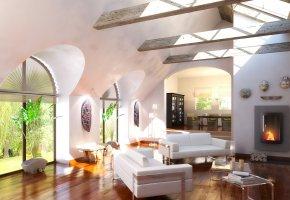 home design, стильная, интерьер, дом, кровати, окна, дизайн