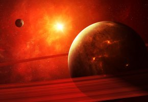 звезды, планеты, кольца, свет, красный, planet