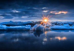 природа, зима, снег, лед, лучи, небо, облака, закат, солнце, море, вода, nature