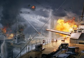 Выстрел, Пламя, Огонь, Дым, Вода, Корабли, Волны, Небо, Облака, Ствол, Железо