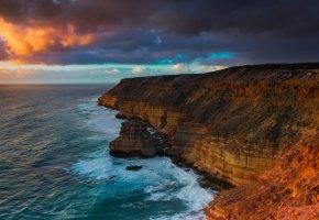 океан, пляж, скалы, панорамма, обрыв, рассвет