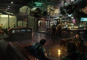 Обои Звёздный гражданин, Стэнтон, планетная система, космос, бар, пилоты, выпивка