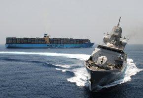корабли, оружие, патруль, охрана, океан, баржа