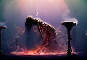 Обои Девушка, левитация, ритуал, кулон, магия, свет