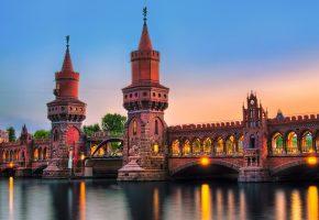 Обои Berlin, Германия, Берлин, город, мост, Обербаумбрюкке, река, освещение, подсветка, вечер