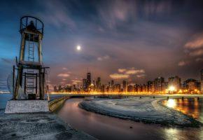 США, небо, ночь, Чикаго, город, огни