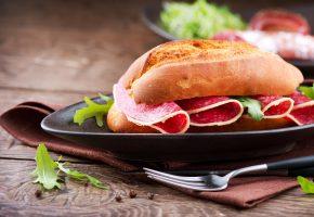 салями, еда, Бутерброд, колбаса, сэндвич, булочка