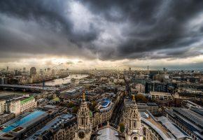 Обои город, лондон, небо, тучи, здания, сверху