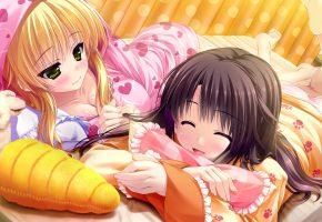 Обои девушка, девочка, лежа, морковка, зайчик, игрушка, кролик