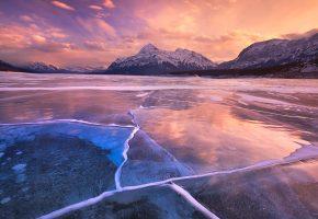 Обои небо, облака, закат, горы, озеро, лед