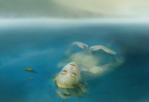 озеро, вода, девушка, лежит, туман, слеза, листья, волосы, лицо