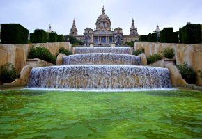 барселона, испания, водопад, фонтан, каскады, брызги